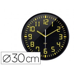 Relogio orium de parede analogico digito grande amarelo fundo preto diametro 30 cm