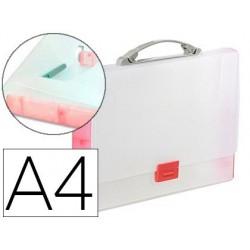 Pasta porta documentos tarifold extensivel mola polipropileno din a4 vermelho translucido com asa