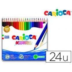 Lapis de cores carioca aguarelavel caixa metalica de 24 cores sortidas