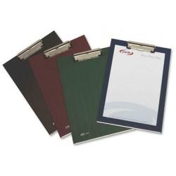 Porta notas pardo cartao forrado pvc folio com miniclip metalico verde