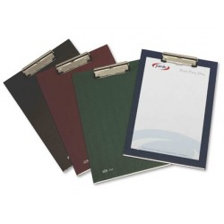 Porta notas pardo cartao forrado pvc folio com miniclip metalico preto