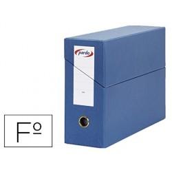 Caixa pardo para transferencias folio forrado extra duplo lombada 80 mm estojo interior com porta etiquetas azul 270x390