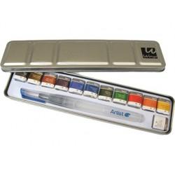 Aguarela artist start caixa metal 12 cores sortidas + pincel recarregavel