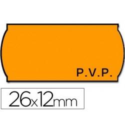 Rolo de etiquetas adesivas meto onduladas 26 x 12 mm pvp - laranja fluorescente rolo 1500