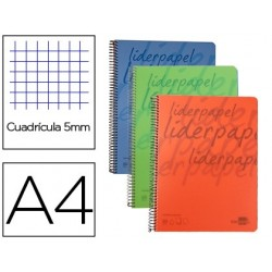 Caderno espiral liderpapel a4 perfurado 140 folhas quadricula de 5 mm papel de 40 grs 5 bandas de cores