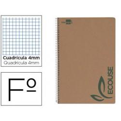 Bloc espiral liderpapel folio ecouse tapa cartulina kraft 80 hojas papel reciclado 60 gr cuadro 4 mm. con margen