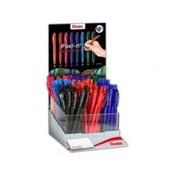 Expositor pentel bx417 com 9 duzias 24 x azul 12 x preto vermelho verde azul ceu laranja rosa e violeta