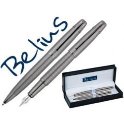 Conjunto belius esferografica e caneta goreme cromado com adornos mate em estojo