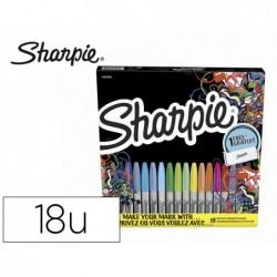 Marcador sharpie permanente pack borboleta de 18 unidades ponta fina cores sortidas + estojo para decorar oferta
