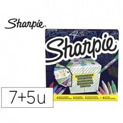 Marcador sharpie permanente pack de 7 unidades ponta fina+ 5 unidades ponta ultra fina cores sortidas + 6 etiquetas para