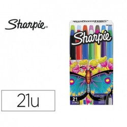 Marcador sharpie permanente pack borboleta de 14 unidades ponta fina + 7 unidades ponta ultra fina cores sortidas