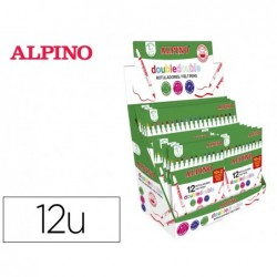 Marcador alpino doble ponta dupla grossa e ponta fina expositor de 12 estojos de 10+2 unidades cores sortidas + 6 estojo