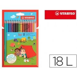 Lapis de cores stabilo trio slim caixa de 18 cores