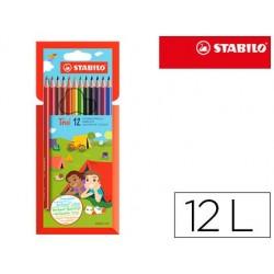 Lapis de cores stabilo trio slim caixa de 12 cores