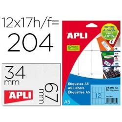 Etiqueta adhesiva apli blanca 12x30 mm sobre a5 de 990 unidades