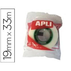 Cinta adhesiva apli 33 mt x 19 mm invisible encelofanada individualmente