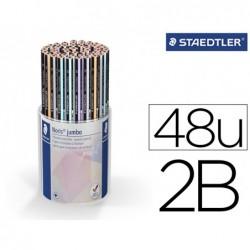 Lapis de grafite staedtler 119 triplus 2b cor pastel frasco de 48 unidades cores sortidas