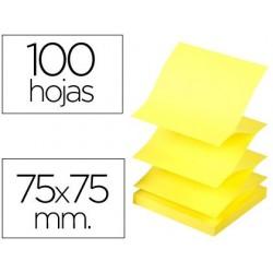 Bloco de notas adesivas q-connect 75x75 mm amarelo neon zig-zag